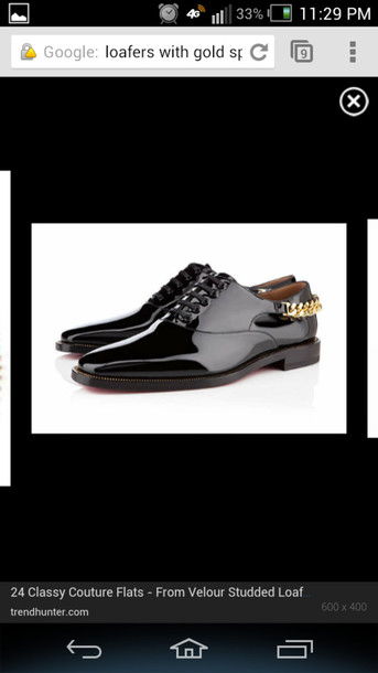 shoes black gold chain loafers