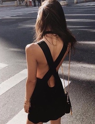 dress black dress black cross body cross body dress flowy cocktail dress prom birthday dress open back little black dress backless dress summer backless fashion cross back tumblr criss cross back