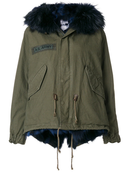 jacket fur women leather cotton green