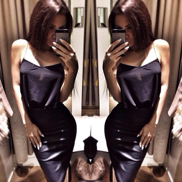 crop tops skirt fake leather all black