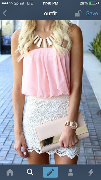 blouse pink top skirt pink blouse necklace lace skirt statement necklace baby pink watch purse shirt