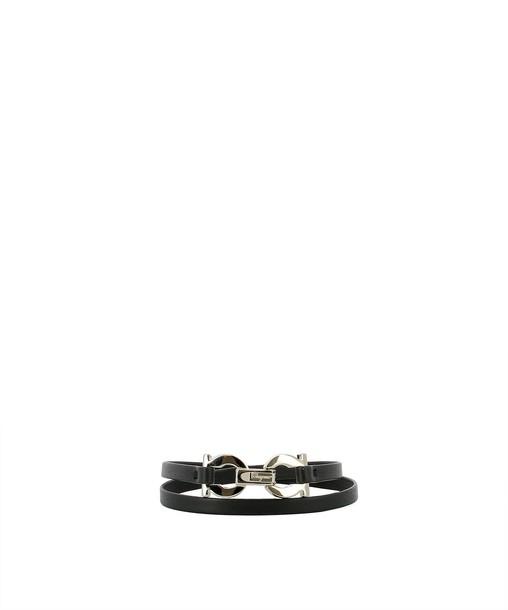 Salvatore Ferragamo leather black black leather jewels