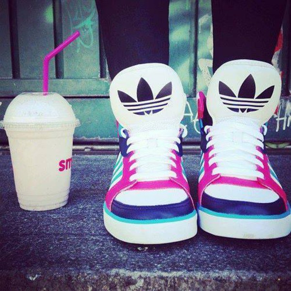 shoes adidas sneakers blue black white pink jeans
