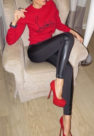 sweater louboutin red sweater fashion