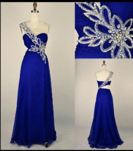 Dress Royal Blue Chiffon Long Prom Dress One Shoulder Silver