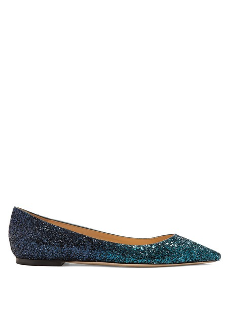 Jimmy Choo glitter flats blue shoes