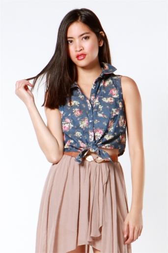 A'gaci floral denim sleeveless tie front shirt