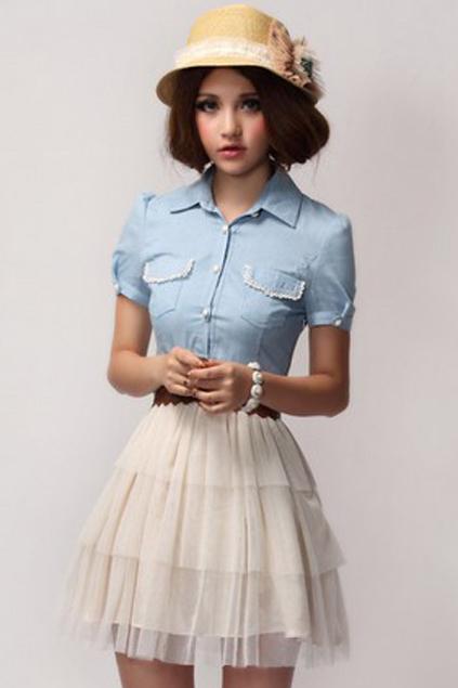 Buttoned cuffs mesh denim dress, the latest street fashion