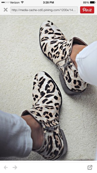 leopard print print cream boots