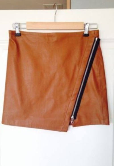 zip skirt size xs tan