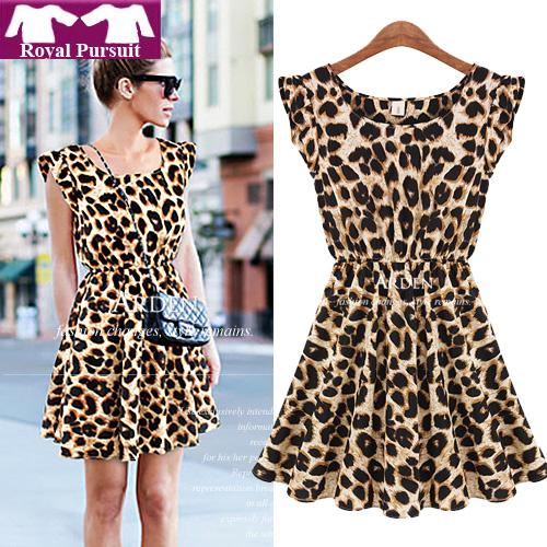 Casual Leopard Print Dress Microfiber Summer Dresses 12054-in ...