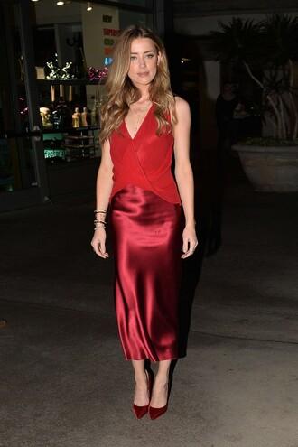 dress gown red dress amber heard pumps