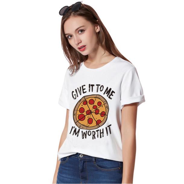 t shirt pizza and letters printed tshirt women harajuku crop tops kawaii shirt tee shirt. Black Bedroom Furniture Sets. Home Design Ideas