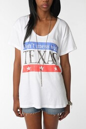 shirt,texas,dont mess with texas,red,white shirt,blue,urban outfitters