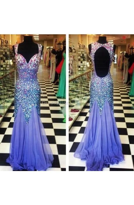 Shoulder lavender prom dress
