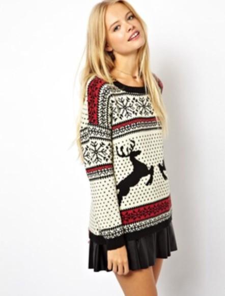 deer sweater christmas christmas sweater reindeer print snowflake sweater skirt leather skirt black