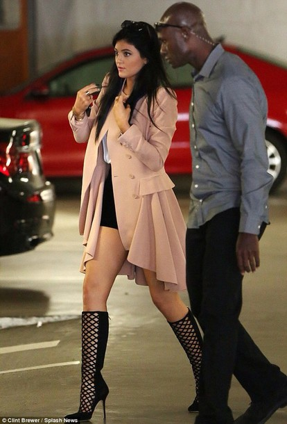 shoes coat kylie jenner pink coat pink kardashians luxury heels
