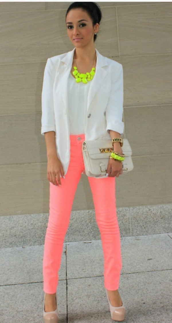 jeans neon necklace jacket bag