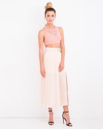 skirt pleated pleated skirt maxi skirt slit skirt blush pink blush pink skirt