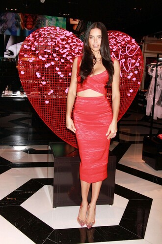 pencil skirt adriana lima red pumps skirt shoes