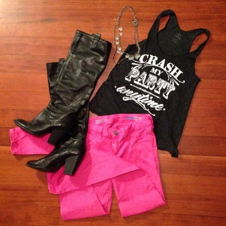 tank top top party black boots jewelry pink jeans pants t-shirt table root gold crash country shoes jewels