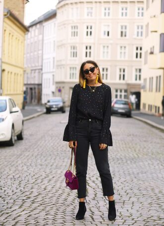 top tumblr black top polka dots bell sleeves denim jeans black jeans cropped jeans boots ankle boots sunglasses bag