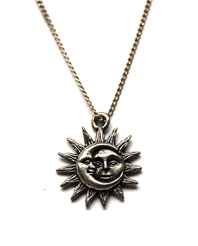 Lost At Sea Silver Sun And Moon Necklace