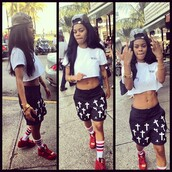 shorts,croix,teyana taylor,shoes,hat,skirt,jewels,socks,pants,exact,the kill,crop tops,snapback