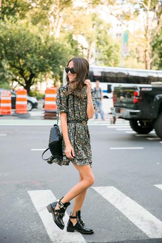 dress tumblr mini dress floral floral dress short sleeve dress boots ankle boots backpack black backpack sunglasses shoes bag