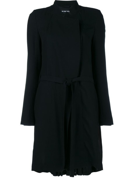 ANN DEMEULEMEESTER coat pleated women cotton black wool