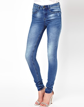 ASOS   ASOS Ridley Supersoft high waisted ultra skinny jeans in Light Stonewash at ASOS