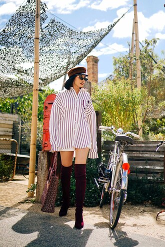 olivia lazuardy blogger hat top bag shoes boots over the knee boots striped shirt fisherman cap spring outfits