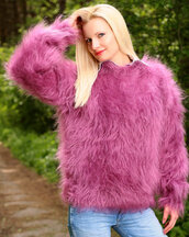 sweater,hand,knit,made,mohair,blouse,jumper,pullover,supertanya,soft,fluffy,angora,wool,alpaca,cashmere