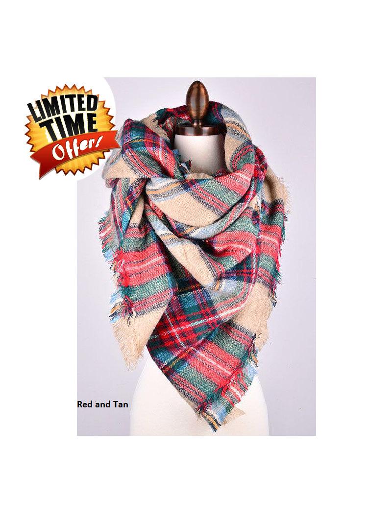 blanket scarf tartan plaid scarf oversized scarf women scarf blanket plaid blanket scarf zara style scarf fall scarf christmas scarf - Christmas Plaid Scarf