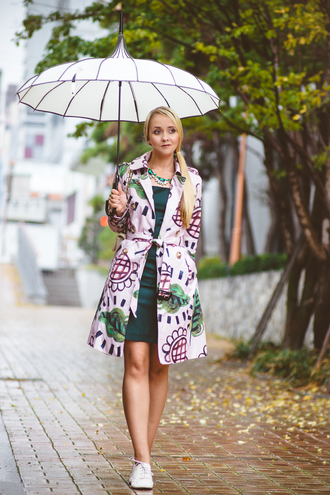 my blonde gal blogger jacket umbrella oxfords statement necklace coat raincoat underwear