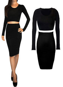 Sexy 2 Piece Set Jersey Midi Wiggle Skirt And Crop Top Long Sleeve