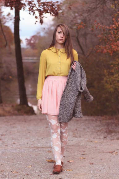 pink skirt blogger tennessee rose blouse tights mustard flare skirt knitted cardigan preppy