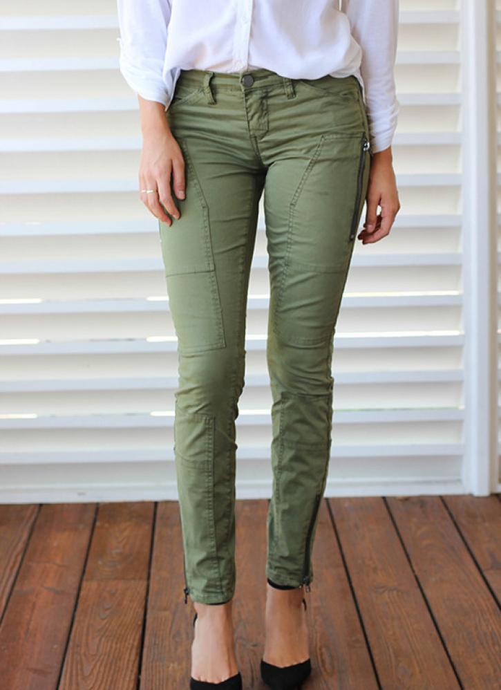 Green skinny straight leg cargo pants with zipper detail