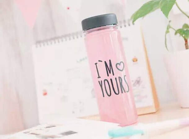 Home Accessory Water Bottle Girly Pastel Pink Love Quotes