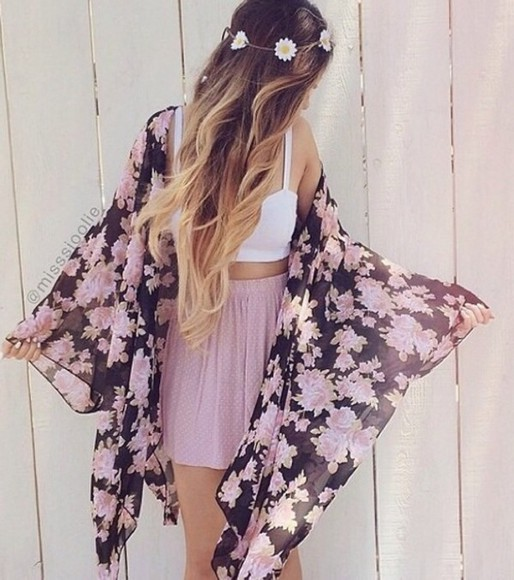 skirt skater skirt pink skirt cardigan kimono floral kimono polka dot skirt cute kimono pretty skirt high waisted skirt