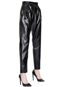 LUISAVIAROMA.COM - DANIELE CARLOTTA - EMBROIDERED FAUX LEATHER PANTS