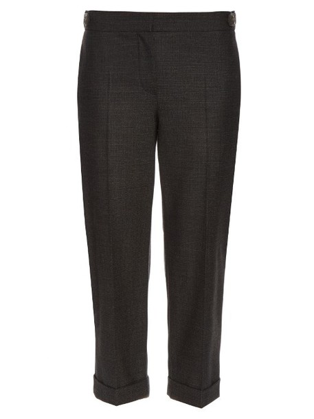 BRUNELLO CUCINELLI Prince of Wales-checked wool-blend trousers in grey