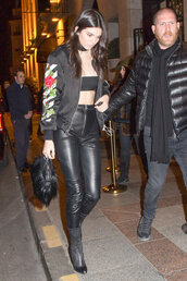 jacket,top,pants,kendall jenner,streetstyle,fashion week 2016,paris fashion week 2016,bandeau,choker necklace,model off-duty,jewels,jewelry,necklace,black choker,black,keeping up with the kardashians,model,celebrity style,celebstyle for less,absolutemarket