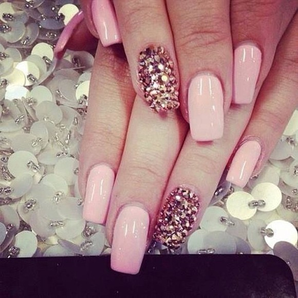 nail polish sparkly pink long nails acrylics girly