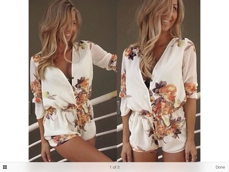 romper jumpsuit dress floral dress fashion white playsuit
