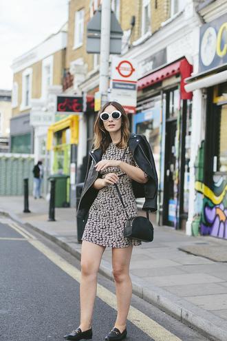 jacket tumblr black jacket leather jacket white sunglasses dress mini dress shoes loafers black loafers sunglasses