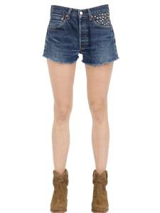 Studded cotton denim shorts