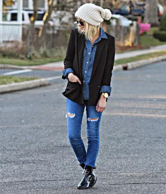 platinum and penniless blogger pom pom beanie denim shirt skinny jeans ripped jeans blazer black boots