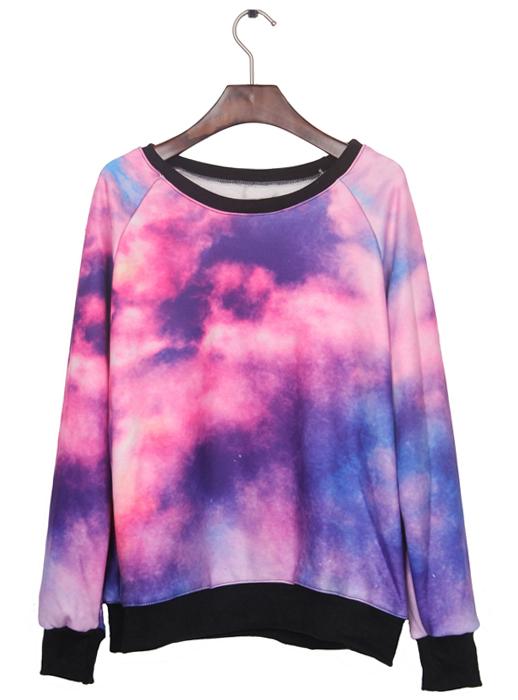 Galaxy print pullover sweatshirt s009866