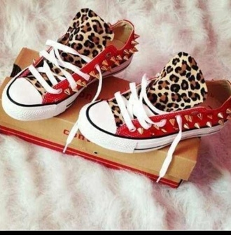 shoes white red cheetah print gold spikes